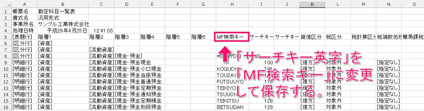 弥生会計からエクスポートした勘定科目一覧表のCSVファイルを開く