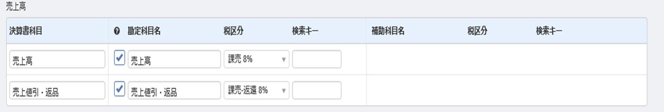 売上高にかかるMFクラウド会計の勘定科目の設定画面